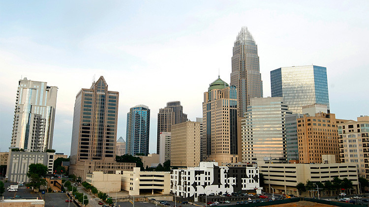 El centro de Charlotte, en Carolina del Norte (EE.UU.)