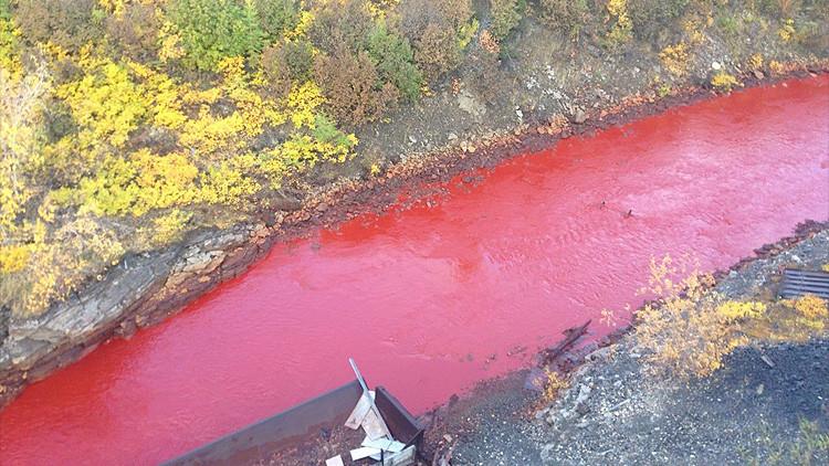 Foto: Las aguas de un río de Rusia se tiñen de rojo sangre