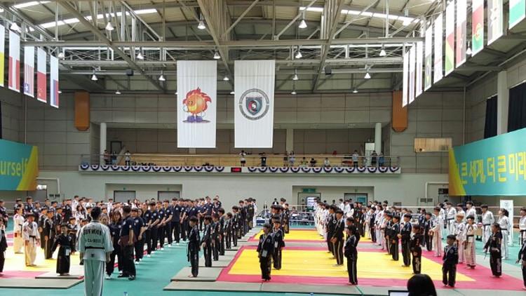 Una competición de hapkido durante la el Campeonato Mundial de Artes Marciales 2016 que se ha celebrado en Cheongju, Corea del Sur.