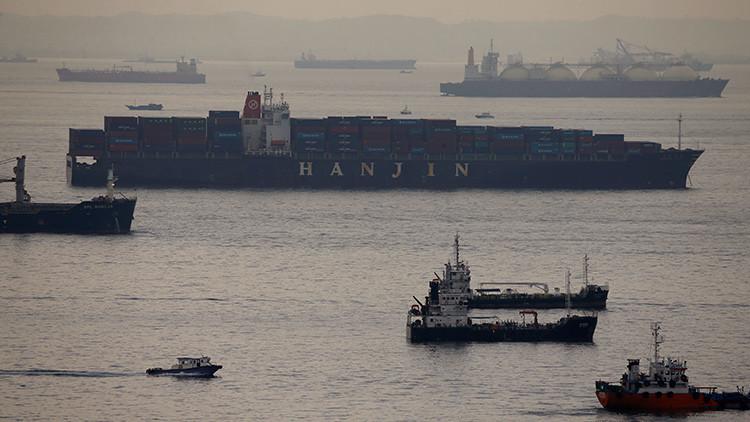 Un buque con contenedores de la compañía Hanjin