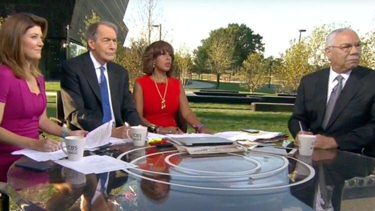 """""""Lanzaste bombas sobre Irak"""": Colin Powell es interrumpido por un espontáneo durante una entrevista"""