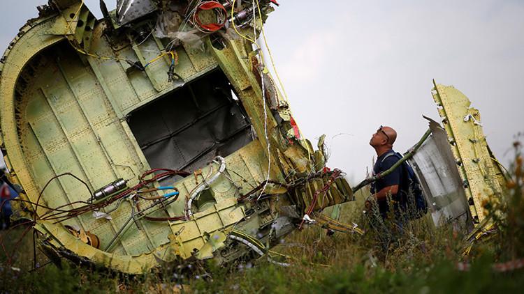 Un investigador del siniestro del avión MH17 de Malaysia Airlines inspecciona el lugar del accidente, ocurrido cerca de la pequeña localidad de Grábovo en la región de Donetsk (Ucrania).