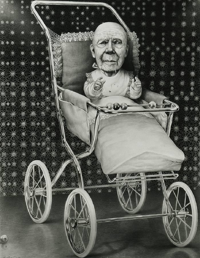 """Laurie Lipton, dibujo a lápiz, 'Second Childhood 1989' ('La segunda infancia 1989'), lápiz sobre papel, 88x68.5cm / 34.6"""" x 27"""""""
