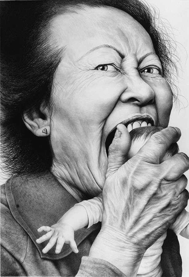 "Laurie Lipton, dibujo a lápiz, 'Love Bite 2002' ('La mordedura del amor 2002'), carboncillo y lápiz, 137.4x96.5cm / 54""x38"""