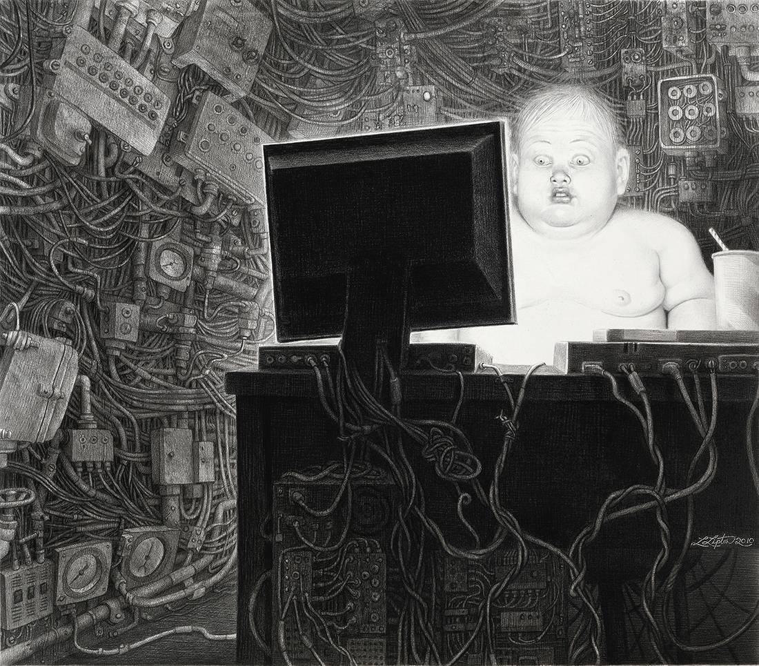 """Laurie Lipton, lápiz, dibujo, 'Info Glut 2010' ('El exceso de información 2010'), carboncillo y lápiz sobre papel, 50.5x58 cm / 20x23"""""""