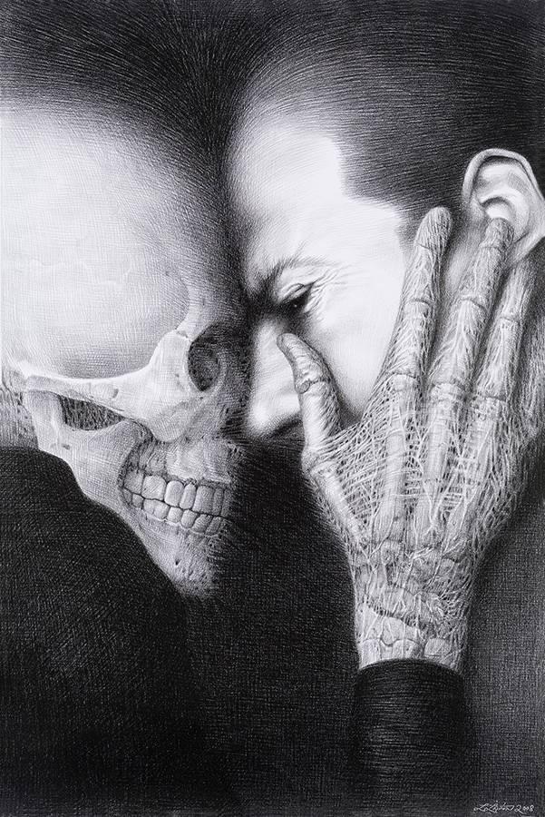 """Laurie Lipton, lápiz, dibujo, 'Tête à Tête 2008' ('Cara a cara 2008'), carboncillo sobre papel, 70.5x47cm / 28""""x18.5"""""""