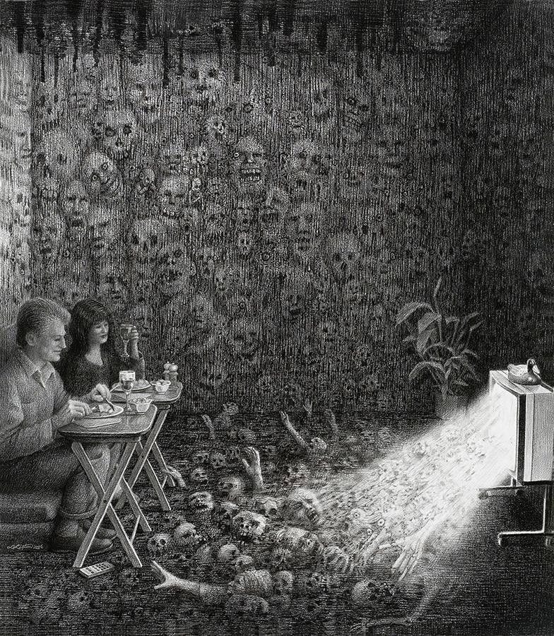 """Laurie Lipton, lápiz, dibujos, 'Prime Time 2006' ('El horario de máxima audiencia 2006'), carboncillo y lápiz sobre papel, 67x58.5cm / 26""""x23"""""""