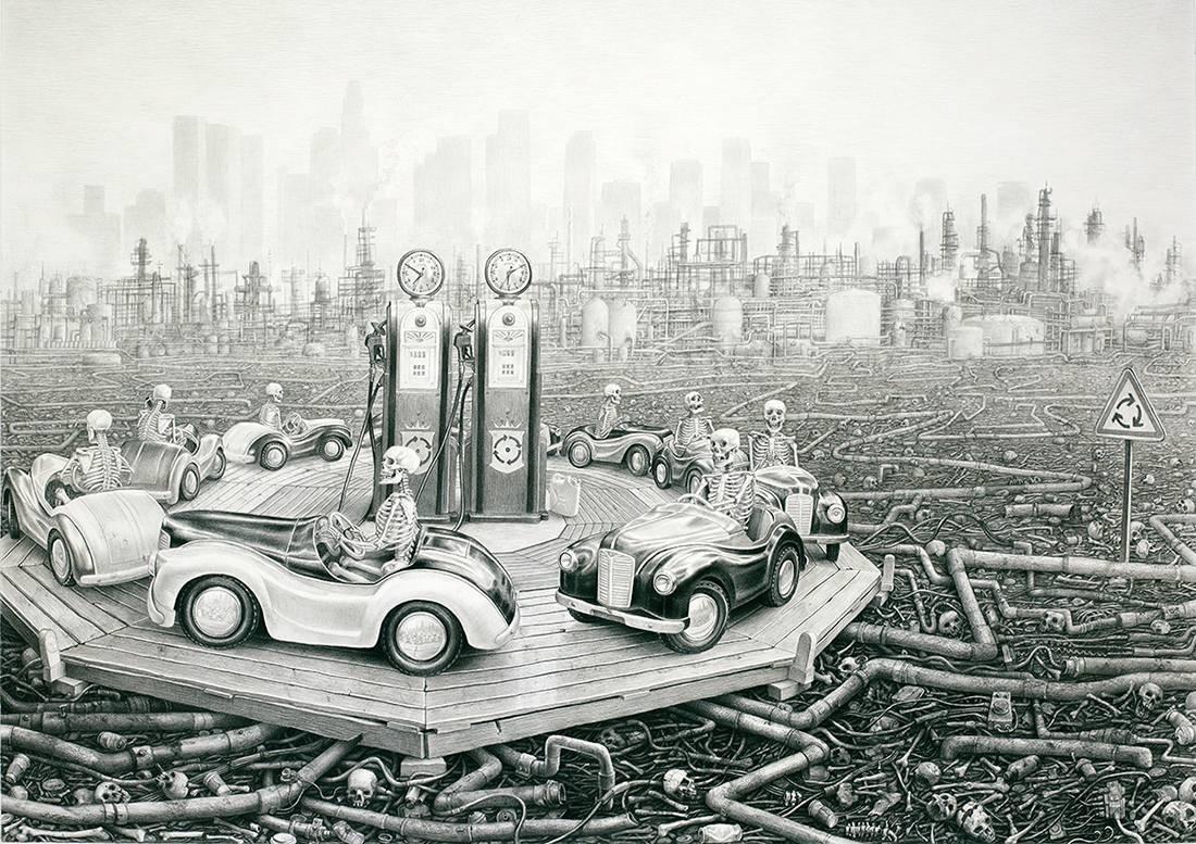 """Laurie Lipton, lápiz, dibujo, 'Round and Round 2012' ('Vueltas y más vueltas 2012'), carboncillo y lápiz sobre papel, 94x134.6cm / 37""""x53"""""""