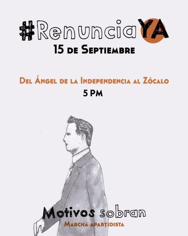 Cartel de convocatoria para exigir renuncia del presidente mexicano