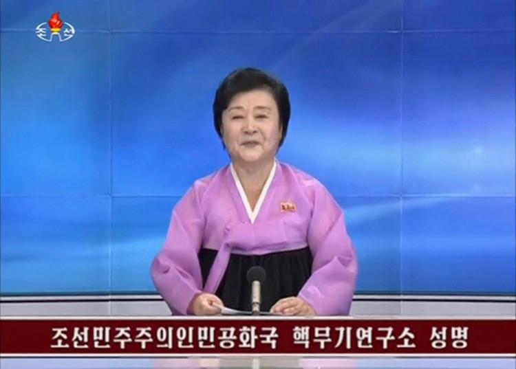 Una presentadora de la Televisión Central de Corea del Norte (KRT) confirma que su país ha llevado a cabo una prueba nuclear.