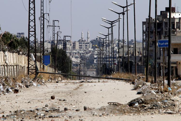 Entrada al distrito Waer de la ciudad de Homs, Siria, el 19 de septiembre de 2016.