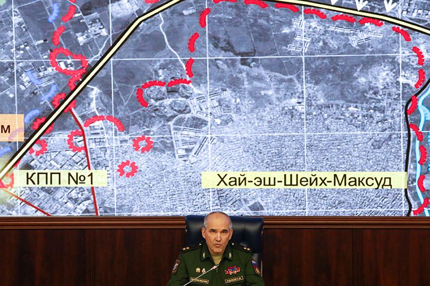 El jefe de la dirección de operaciones del Estado Mayor General de Defensa de Rusia, el teniente general Serguéi Rudskói, en una rueda de prensa en Moscú, Rusia, el 19 de septiembre de 2016.