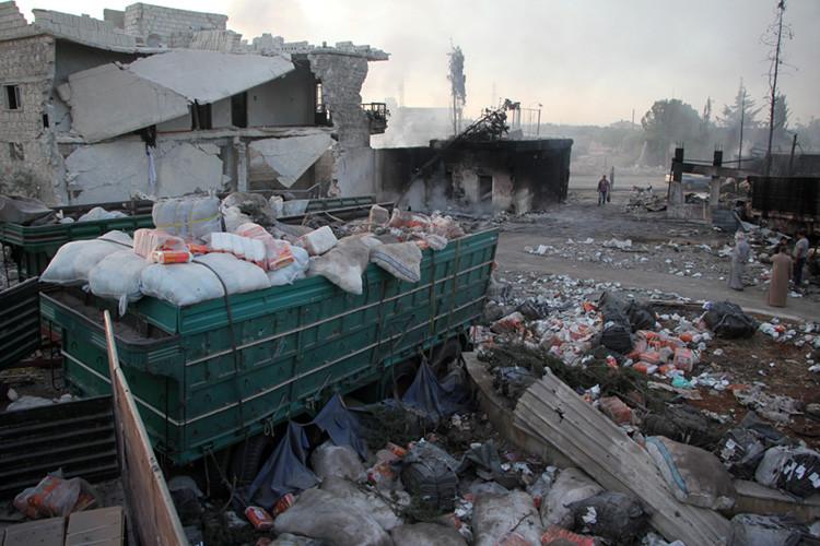 El convoy humanitario de la ONU atacado en la ciudad Siria de Alepo.
