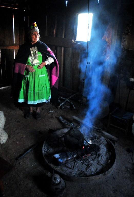 Una machi, tradicional curandera y líder religiosa mapuche