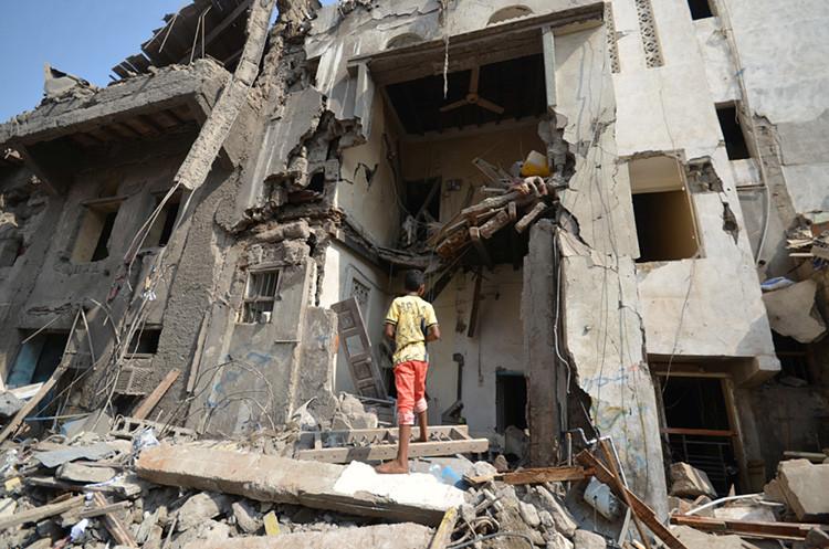 Yemen tras un ataque aéreo liderado por Arabia Saudita, 22 de septiembre de 2016