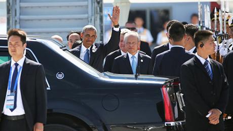 Barack Obama, presidente de EE.UU, en el aeropuerto de Hangzhou, China.