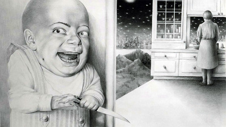 "Laurie Lipton, dibujo, 'Last Night I Dreamt I Murdered Mommy 1980' ('Anoche soñé que asesiné a mi mamá 1980'), lápiz sobre papel, 63.5 x 91 cm / 25"" x 35.8"""