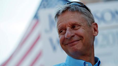 El candidato presidencial por el Partido Libertario, Gary Johnson, durante un acto de su formación política en Boston, Massachusetts, EE.UU., 27 de agosto de 2016.