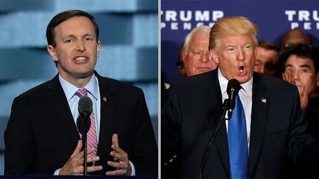 El senador del partido demócrata ,Chris Murphy (izquierda), y el candidato republicano a la Presidencia de EE.UU., Donald Trump.