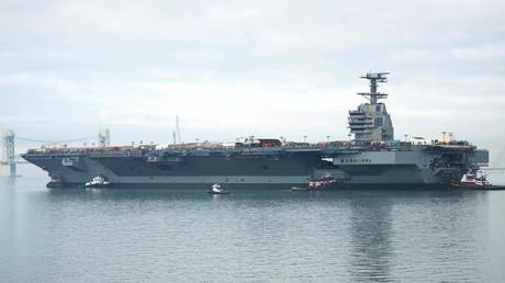 El portaaviones estadounidense Gerald R. Ford en el río James en noviembre del 2013.
