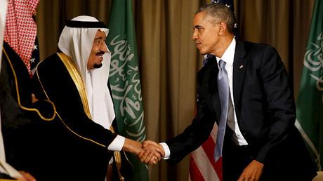 El rey Salmán de Arabia Saudita y el presidente de EE.UU., Barack Obama