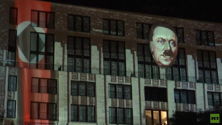 Video: Controvertida proyección de la cara de Hitler en Berlín