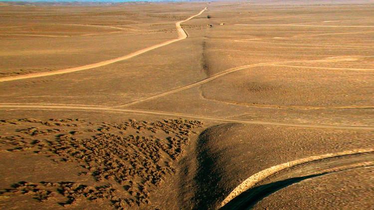 Una vista de la falla de San Andrés en la planicie Carrizo, al norte del arroyo Wallace, California, EE.UU.