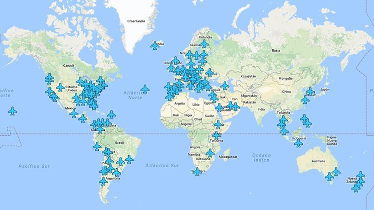 Este mapa interactivo permite acceder a las redes wifi de los aeropuertos