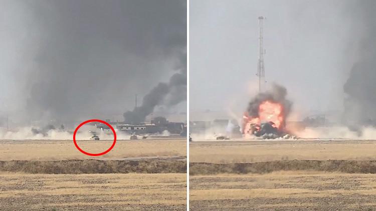FUERTE VIDEO: Un coche bomba del EI siembra el pánico y explota contra una columna de tanques iraquí