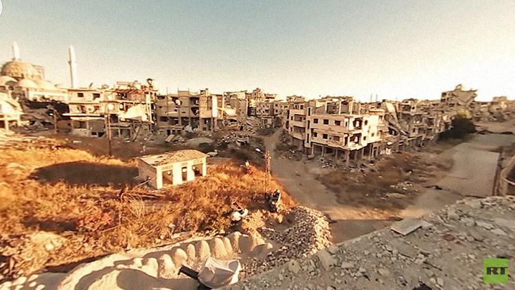 Los desoladores efectos de la guerra en Siria en una vista en 360 grados
