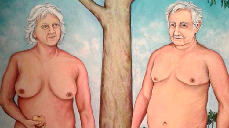 Polémica por un cuadro donde Mujica y Topolansky aparecen desnudos como Adán y Eva