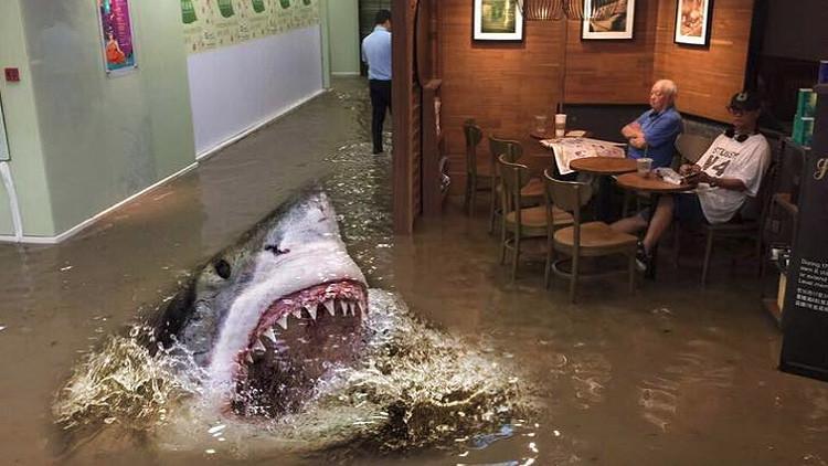 MEMES: La imagen de un anciano imperturbable en un Starbucks inundado conquista la Red
