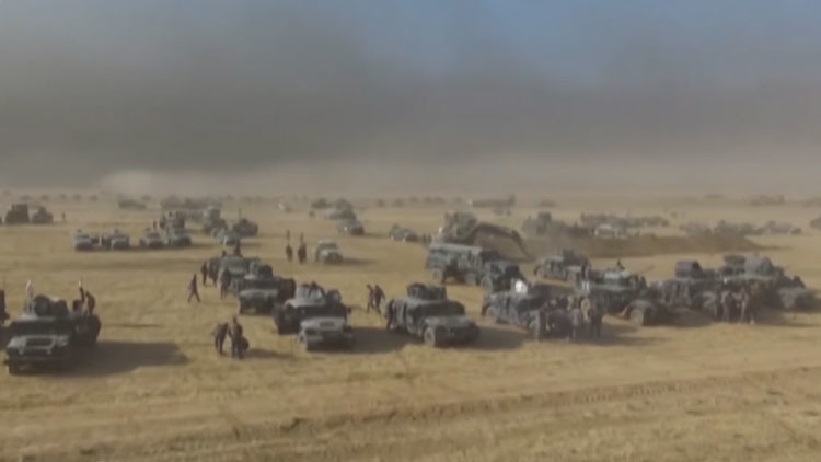 Video: Un dron capta cómo se prepararon las fuerzas iraquíes para la ofensiva en Mosul
