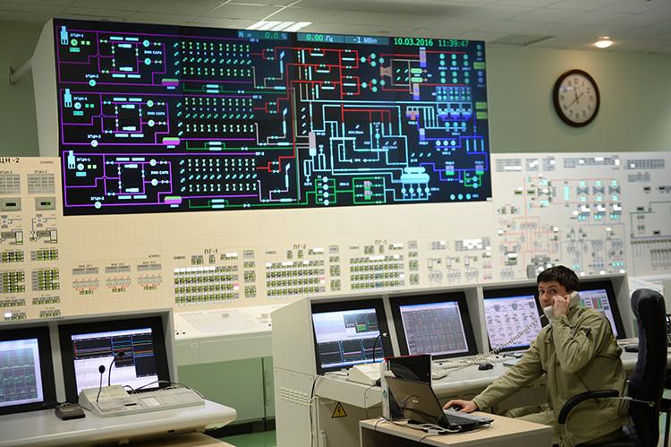 Principal puesto de control de la cuarta unidad de generación eléctrica con el reactor BN-800 de la central nuclear de Beloyarsk, Rusia.