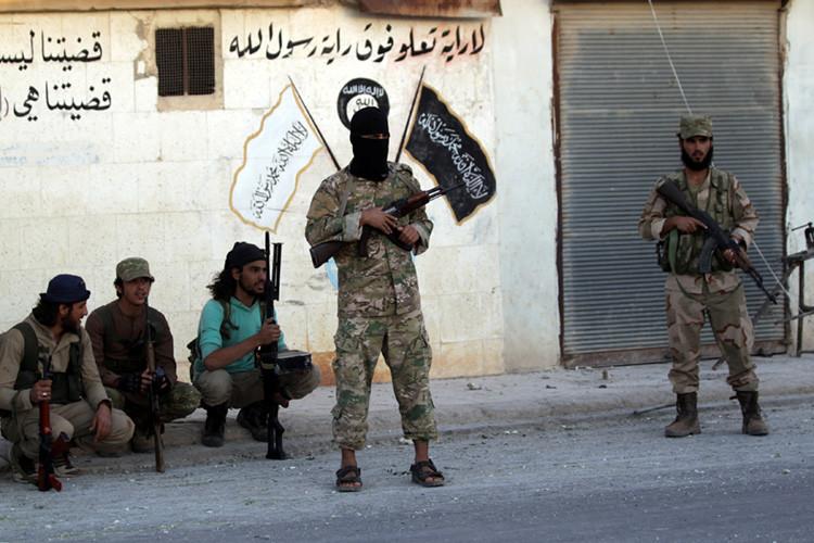 Combatientes rebeldes en Dabiq, en el norte de Alepo (Siria)