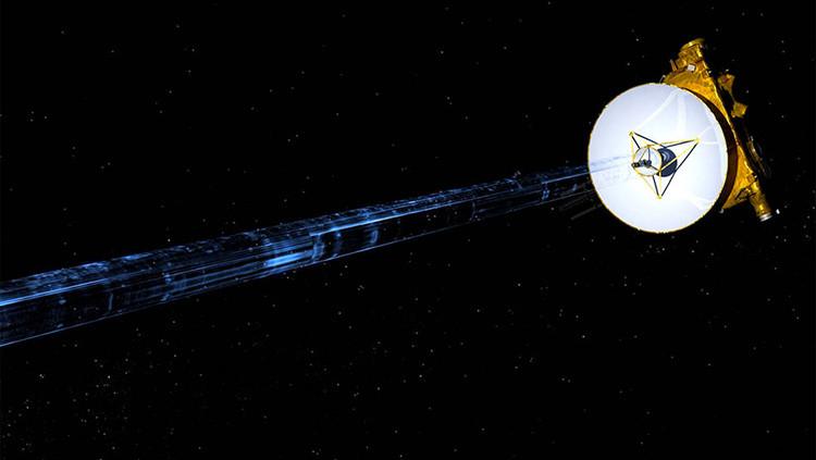 Ilustración artística de la transmisión de datos a la Tierra por la sonda de la NASA New Horizons.