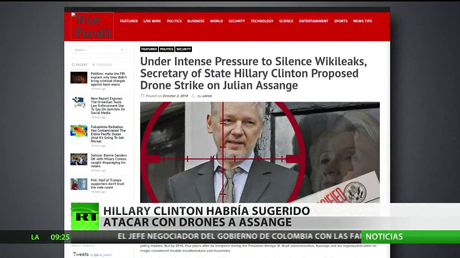 Hillary Clinton habría sugerido atacar con drones a Assange