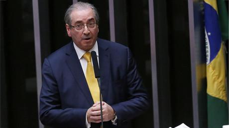 Expresidente de la Cámara Baja del Parlamento de Brasil, Eduardo Cunha, durante una sesión del Parlamento en Brasilia el 12 de septiembre de 2016.