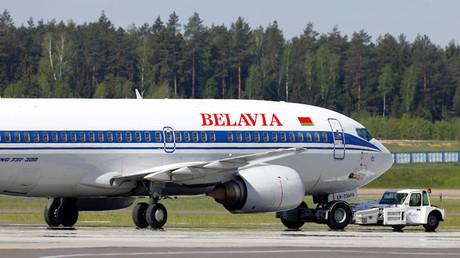 Un avión de la compañía Belavia, en el Aeropuerto Internacional de Minsk, Bielorrusia, el 19 de mayo de 2016