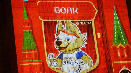 Zabivaka durante la presentación de los candidatos para ser la mascota de la Copa del Mundo FIFA 2018, en Moscú.