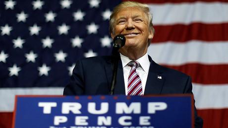 El candidato republicano a la presidencia de EE.UU. Donald Trump en un acto de su campaña electoral en Delaware, estado Ohio, EE.UU. 20 de octubre 2016
