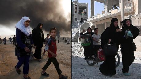 Los civiles vuelven a su pueblo Qayyara, al sur de Mosul, Irak. Y las mujeres caminan por una calle después de ser evacuadas de un barrio en Alepo, controlado por el Estado Islámico, Siria © Alaa Al-Marjani / Rodi Said / Reuters
