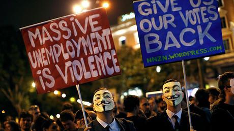 Imagen de la manifestación frente al Congreso de los Diputados el 25 de septiembre de 2012, convocada por la Coodinadora para pedir la formación de una asamblea constituyente.
