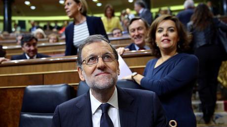 Mariano Rajoy, presidente del Gobierno en funciones y candidato del PP, durante el debate de investidura