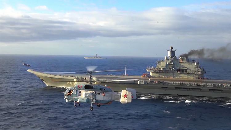 El grupo de combate del portaaviones ruso Admiral Kuznetsov avanza por el Mediterráneo