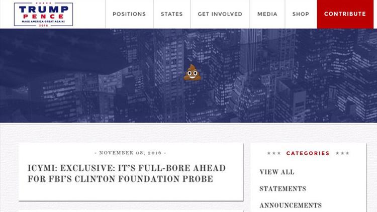 'Hackeo' electoral: internautas 'trolean' la web de Donald Trump con el 'emoji' del excremento