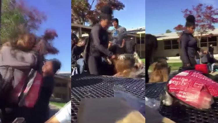 VIDEO: Golpean a una adolescente en un colegio por apoyar a Trump en California