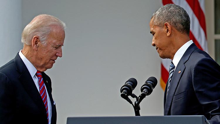 El presidente Barack Obama y su vicepresidente Joe Biden tras la intervención de Obama sobre los resultados de las elecciones, 9 de noviembre de 2016.