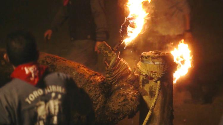 Graban a escondidas la tortura con fuego del Toro Jubilo de España (VIDEO)