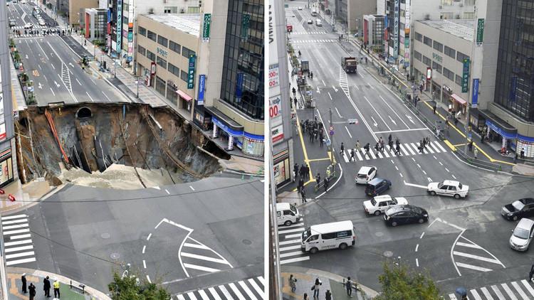 VIDEO: Tapan en apenas 48 horas el socavón gigante que se abrió en una ciudad japonesa